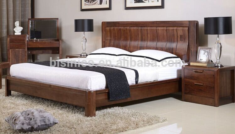bisini luxury black walnut double bed royal solid wood functional storage bed bf01 x1067