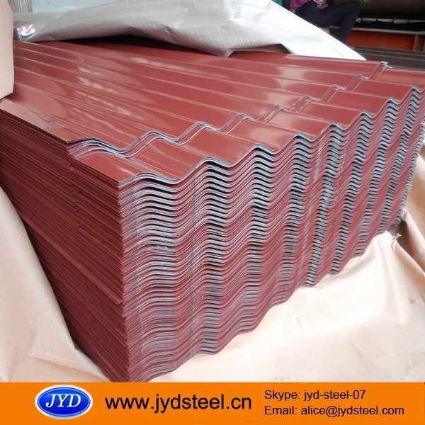 zinc corrugated roofing sheet color coated steel sheet prepainted with wave profile trapezoid profile