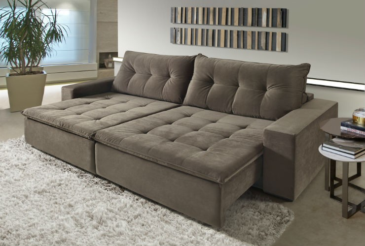 sofa dencevity table lateral retratil veludo marrom 4 lugares sala