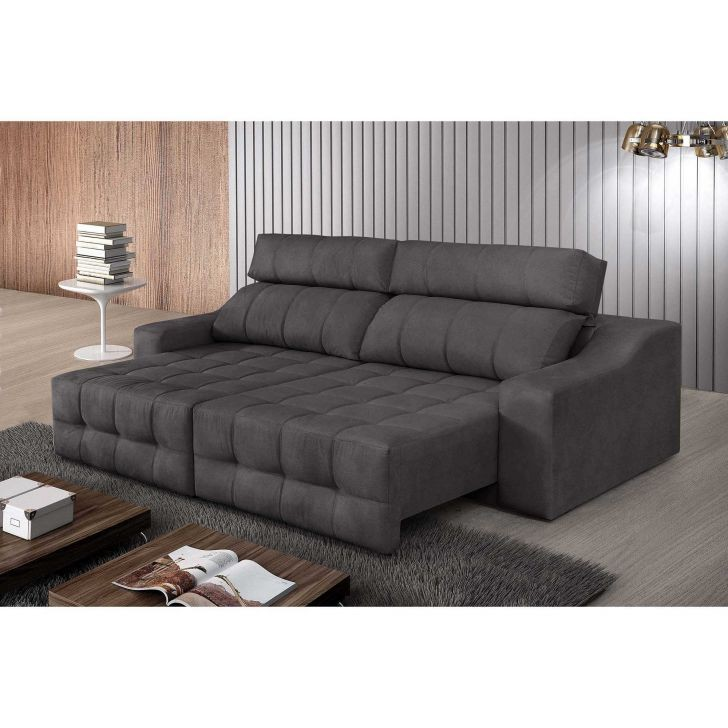 sofa 4 lugares connect retratil e reclinavel pena grafite rifletti
