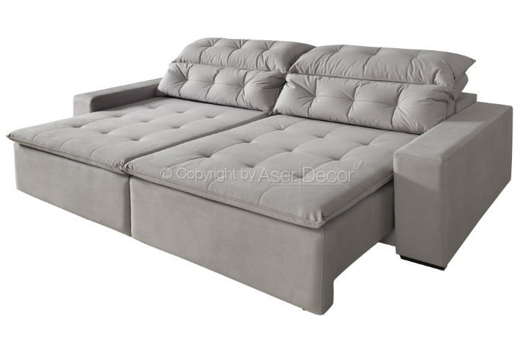 sofa zancion retratil reclinavel suede fendi 4 lugares sala home