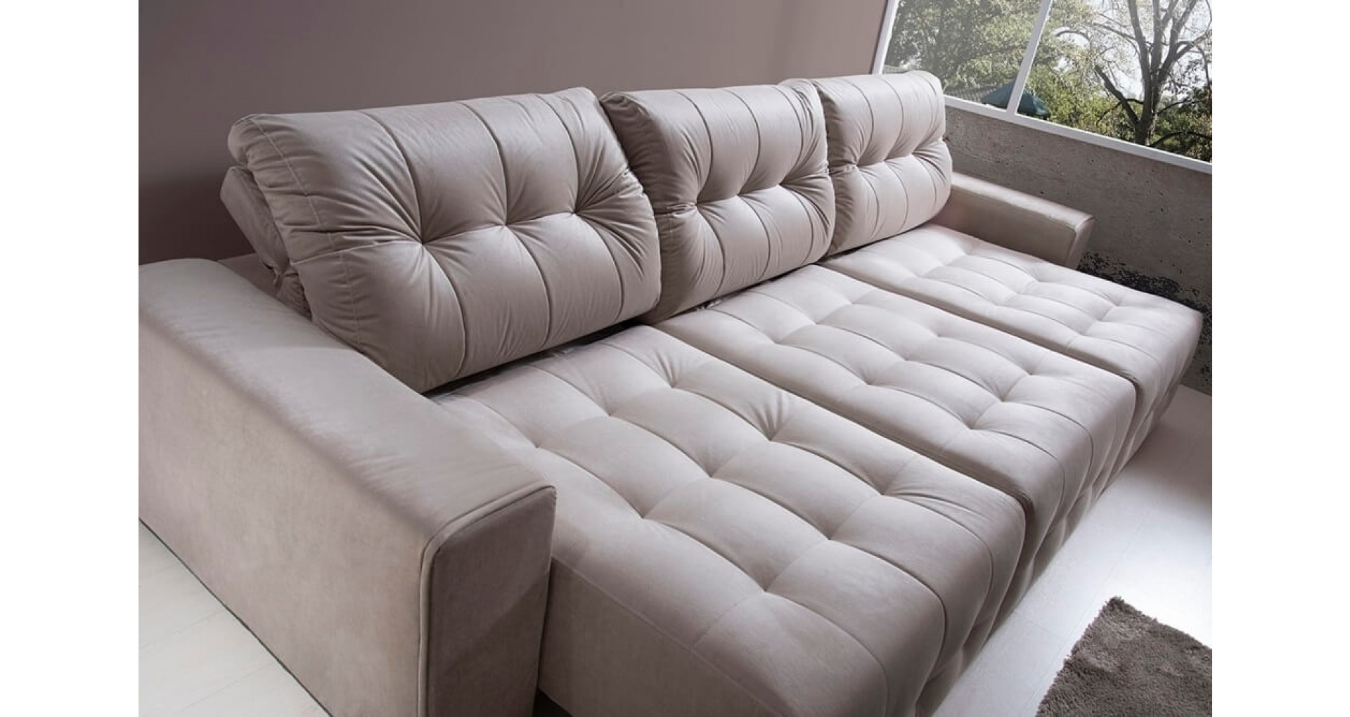sofa 4 lugares retratil reclinavel bege metris