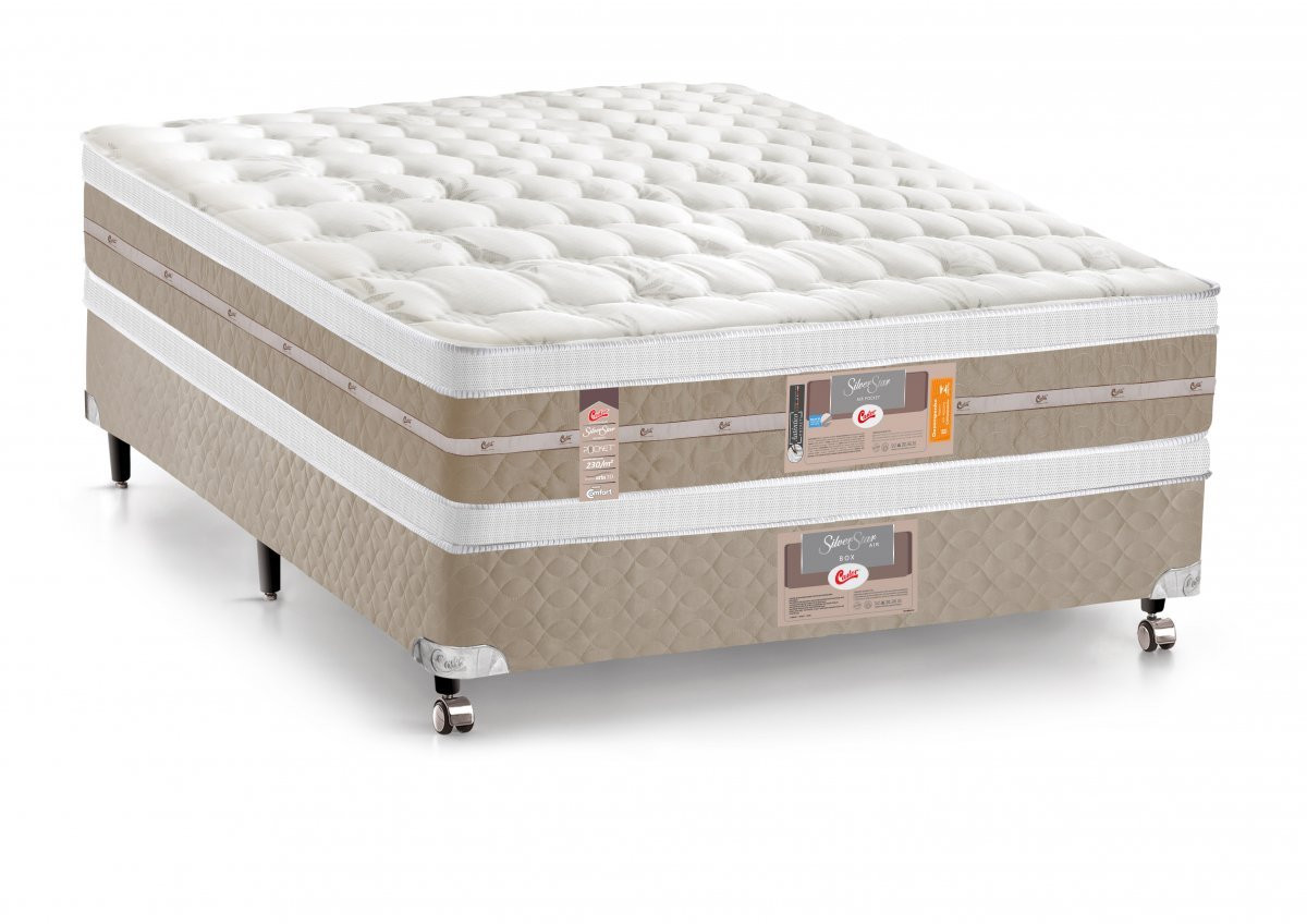 cama box colchao castor casal molas pocket silver star air double face 138x188x61cm