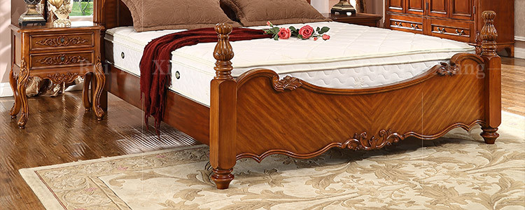 European rustic wood structure double bed with unique design and handmade carving B 276