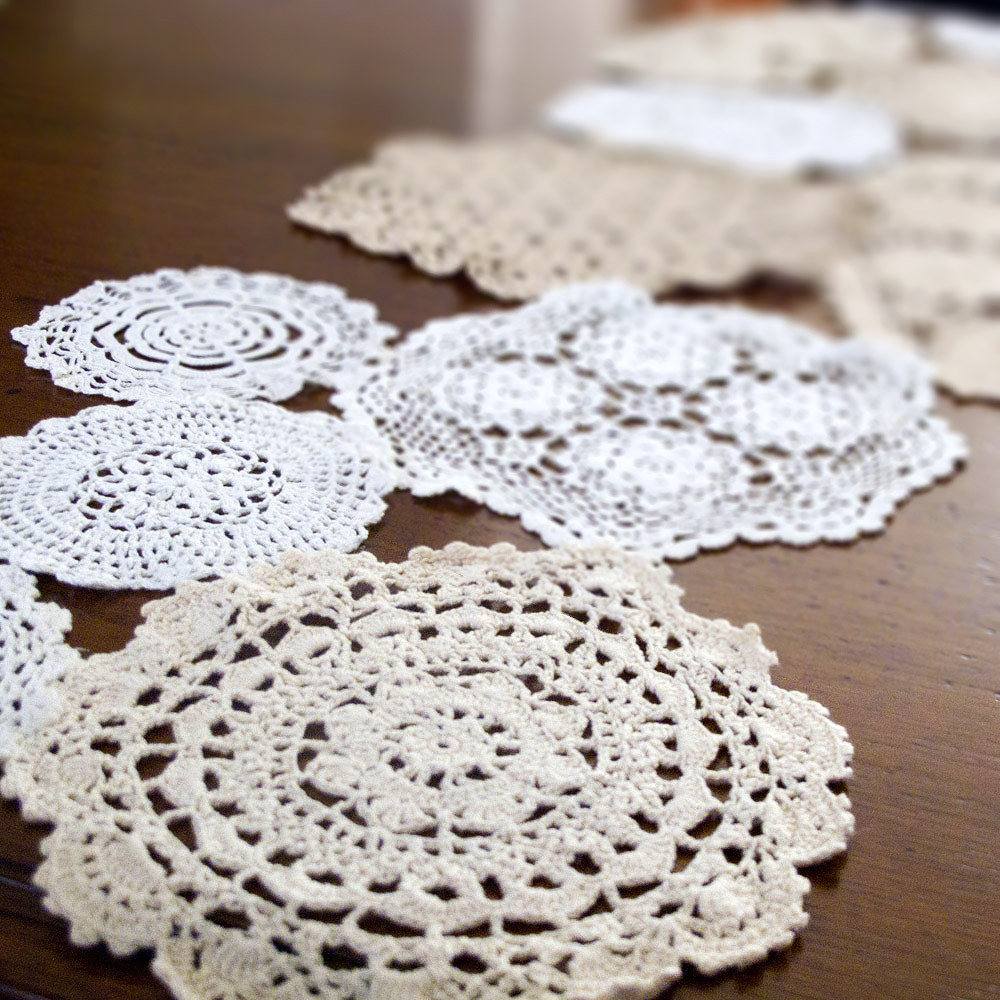 crochet doilies table runner
