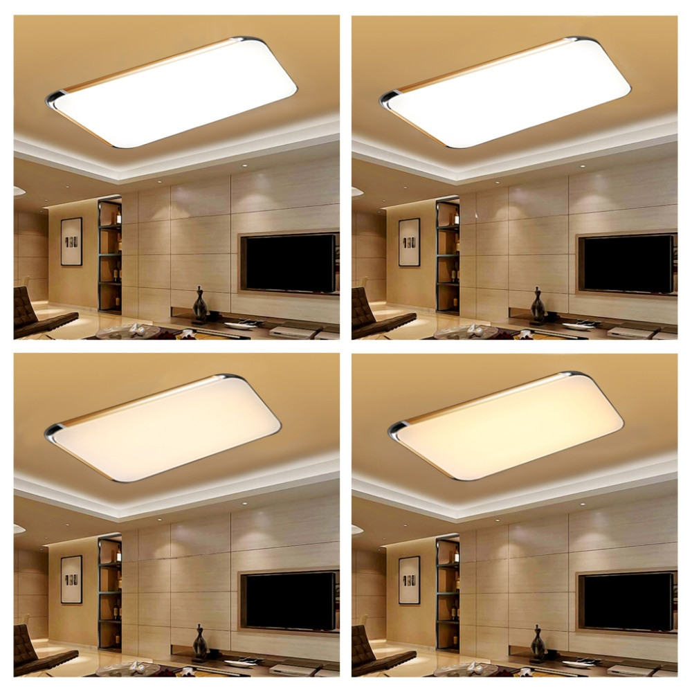 remote control living room bedroom modern led ceiling lights 48w luminarias para sala dimming led ceiling lamp gold silver