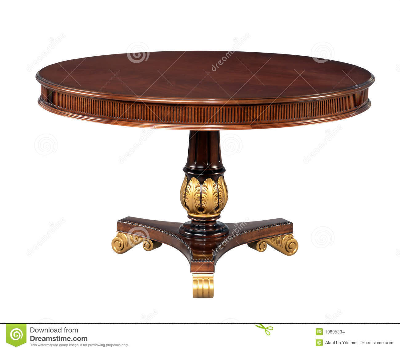 stock images antique wooden round table image