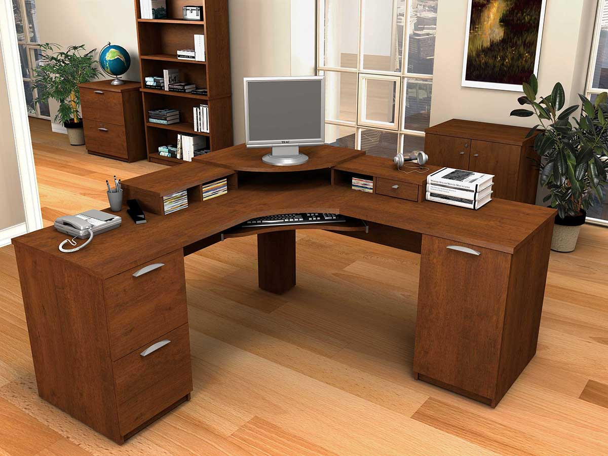 bush cabot l shaped desk to maximize home office space