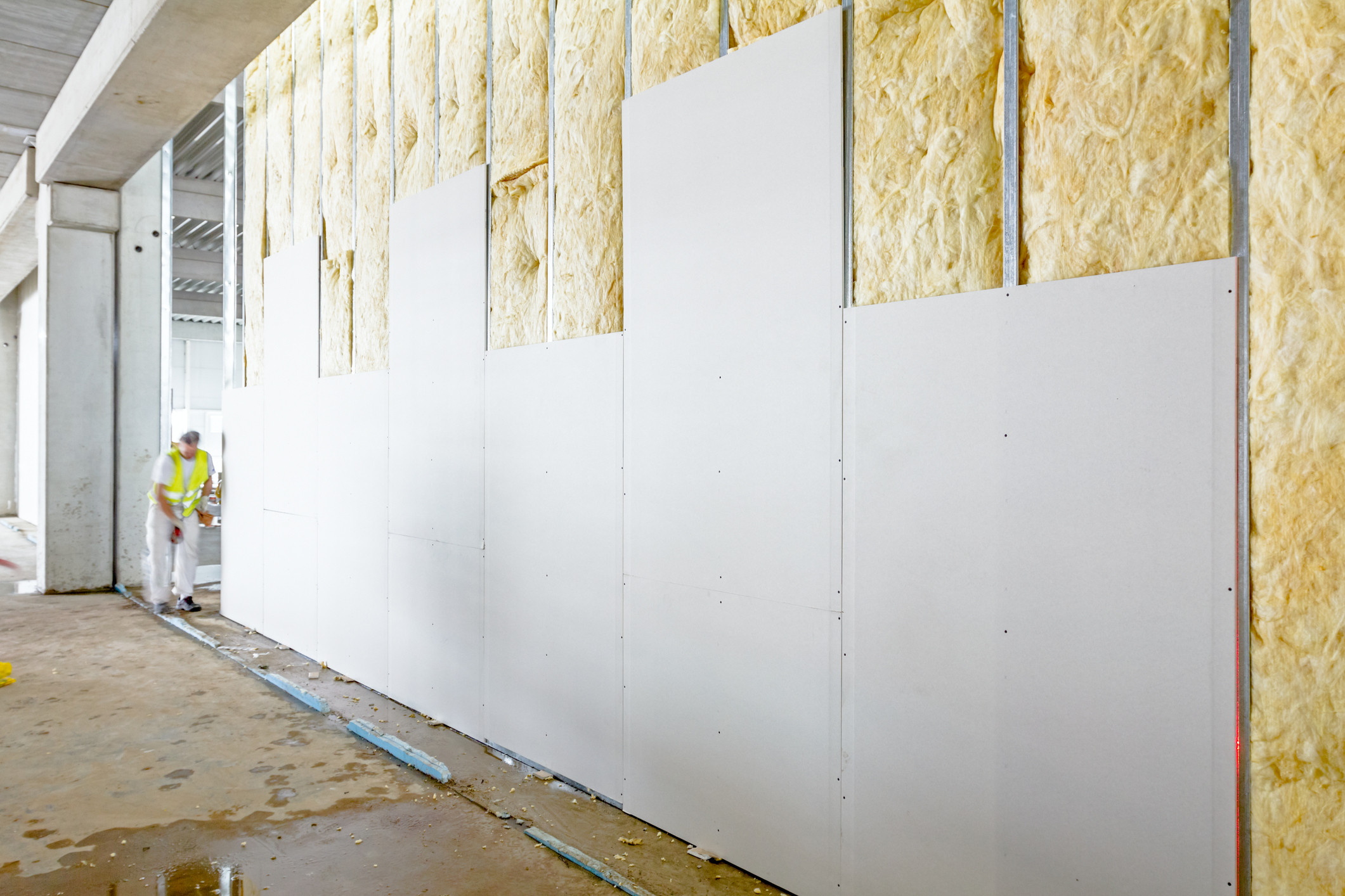 front view of gypsum wall plasterboard is under construction