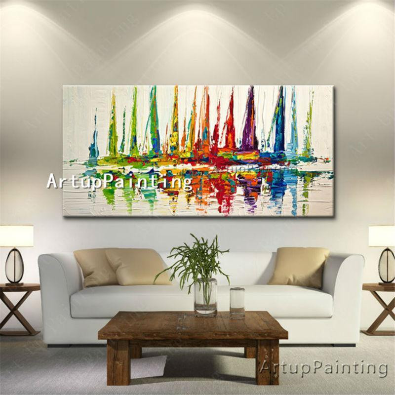 hand painted canvas abstract oil painting huge modern yacht painting paintings for living room wall abstract boat paintings art