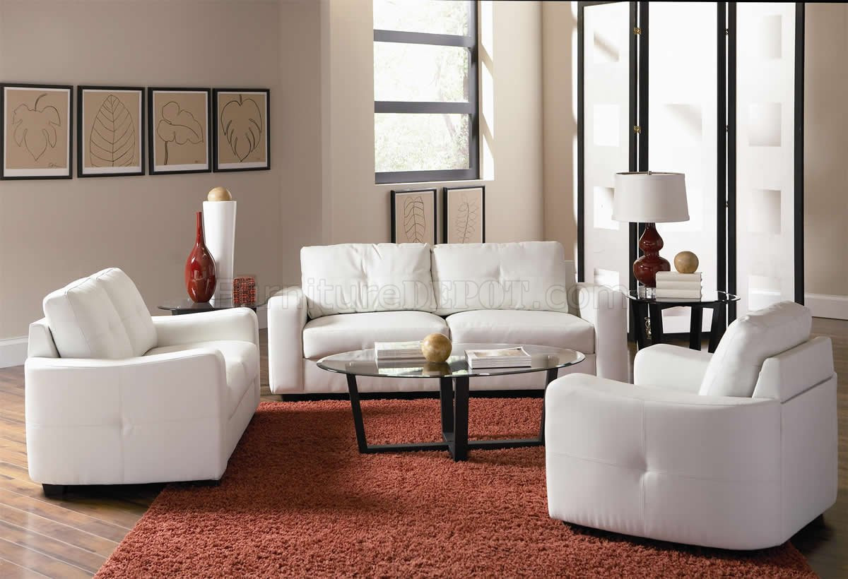 white bonded leather match modern sofa loveseat set woptions p