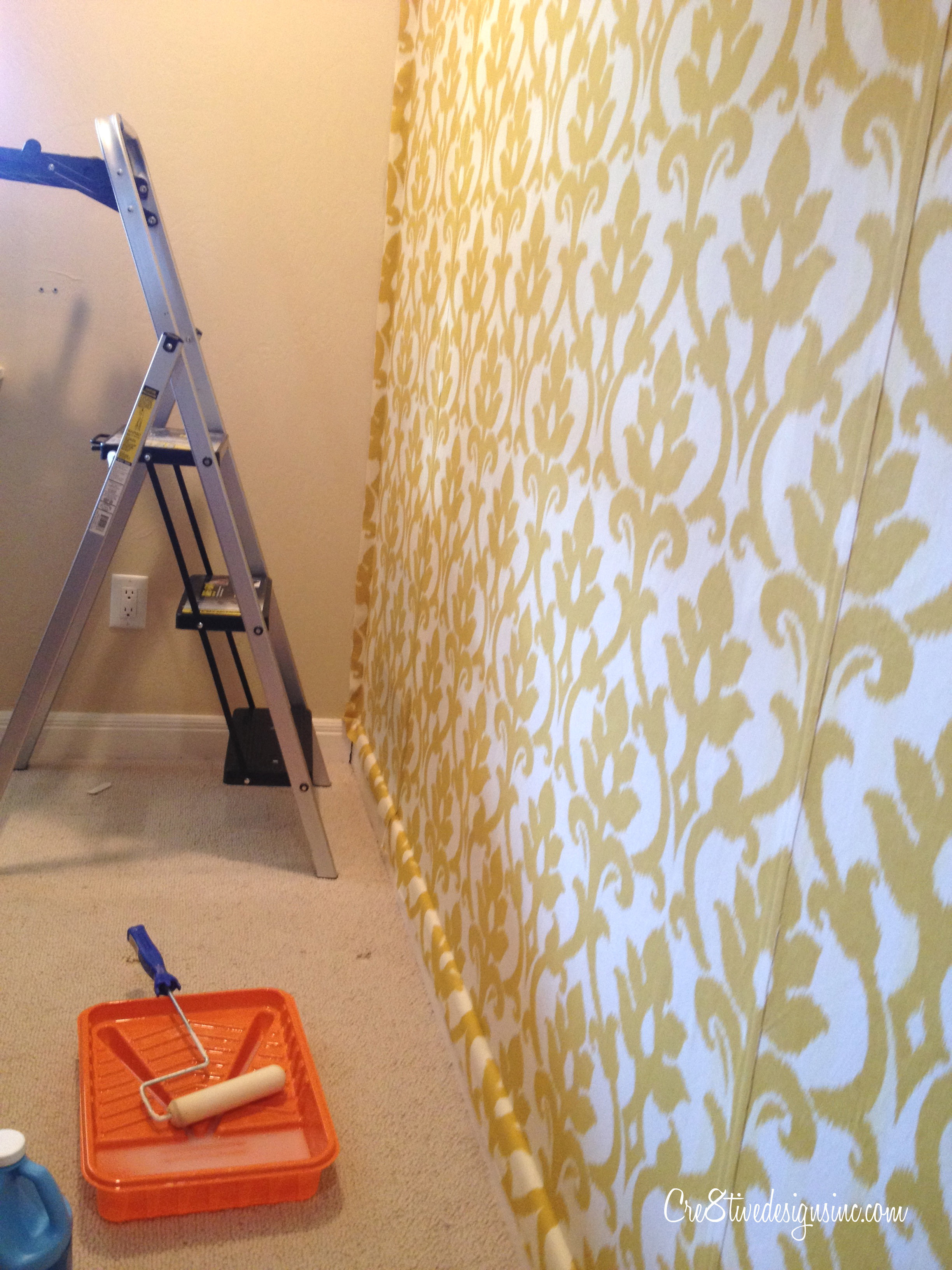 how to wallpaper with fabric using starch