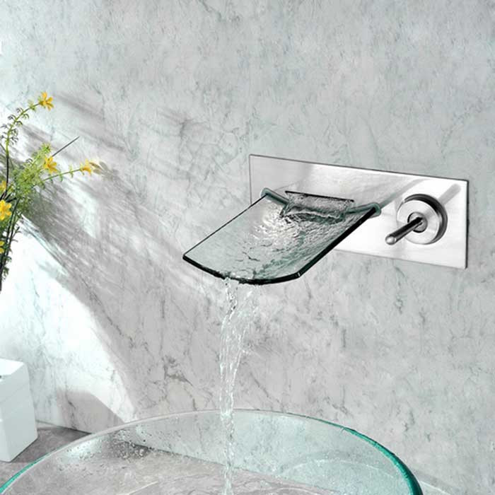 wall mounted nickel finish copper waterfall bathroom sink faucet antique silver