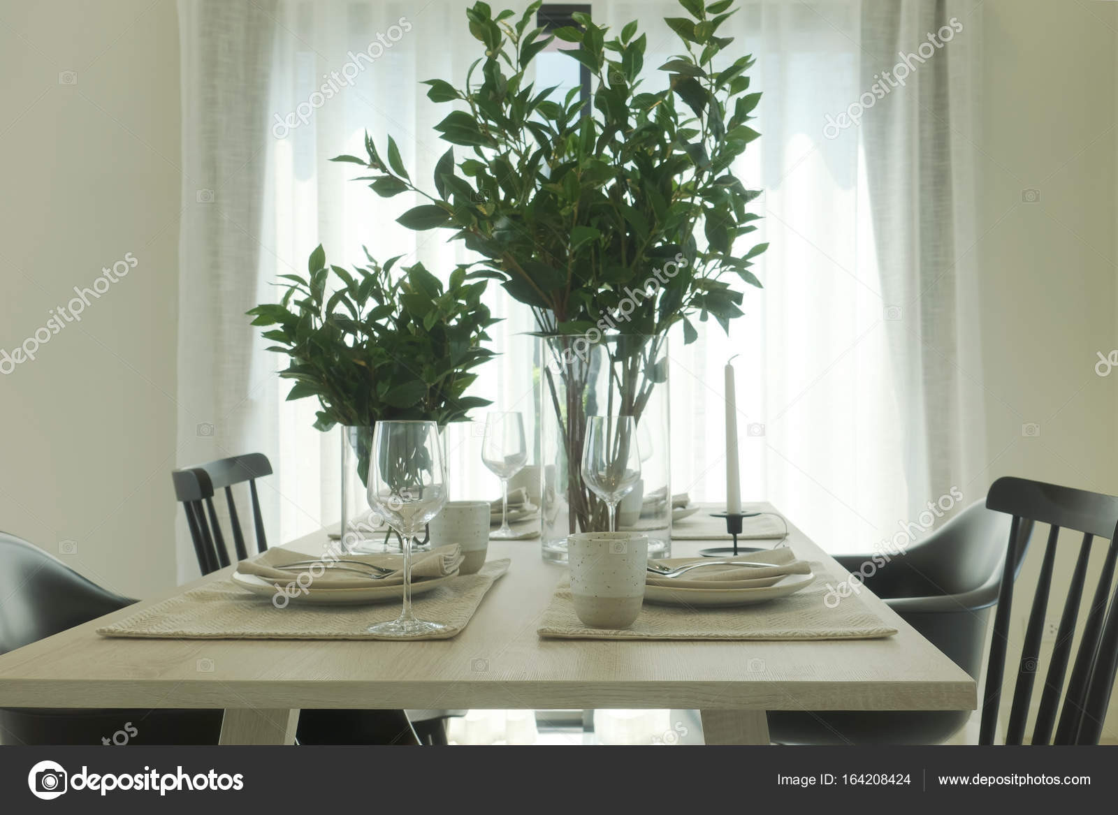 stock photo simply dining table with vase