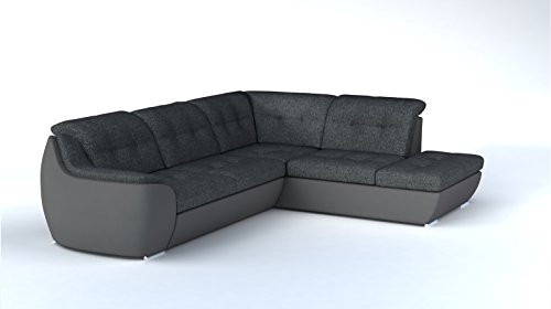 bmf ver 21 white grey modern corner sofa bed storage faux leather and fabric right facing 288cm x 230cm